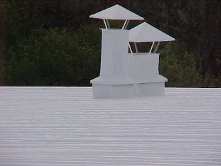 Cool white roof applied by Roof Menders